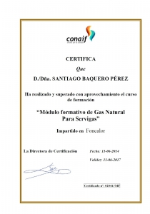 Módulo formativo de Gas Natural para Servigas